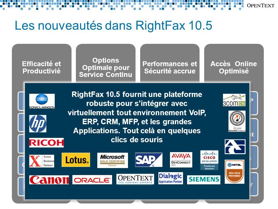 Les nouveautés dans RightFax 10.5