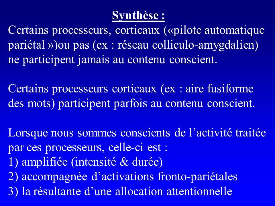 Synthèse : Certains processeurs, corticaux («pilote automatique. pariétal »)ou pas (ex : réseau colliculo-amygdalien)