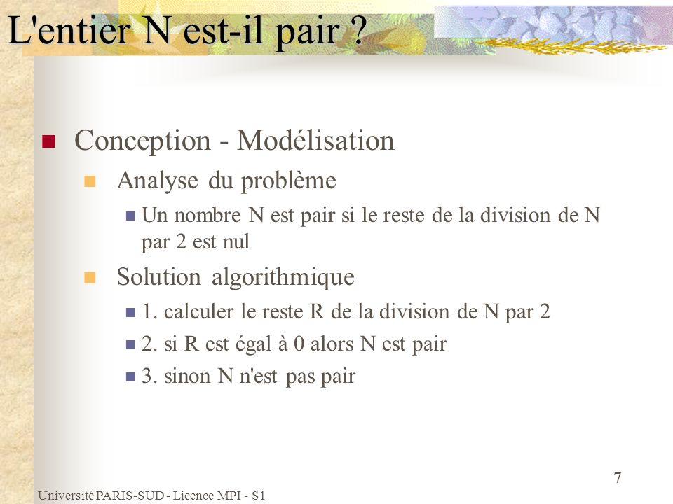 L entier N est-il pair Conception - Modélisation Analyse du problème