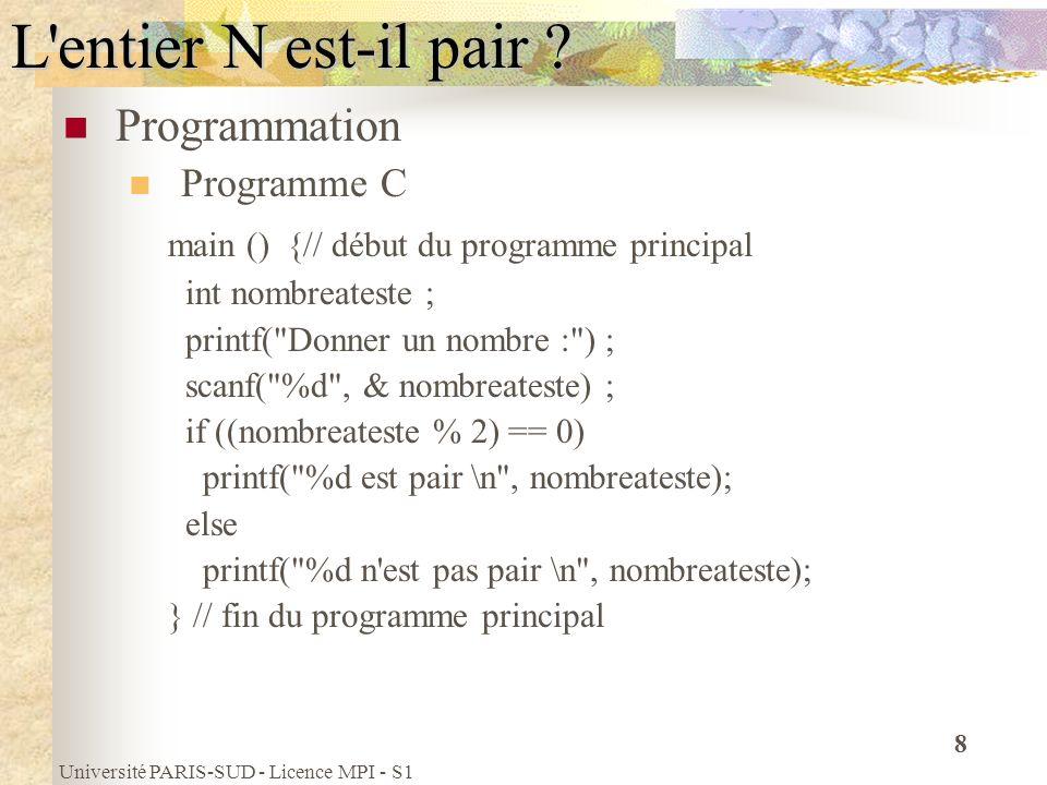 L entier N est-il pair Programmation