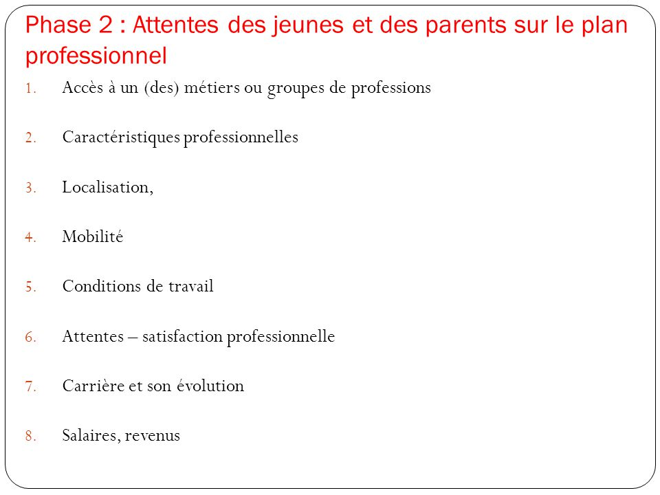 Phase 2 : Attentes des jeunes et des parents sur le plan professionnel