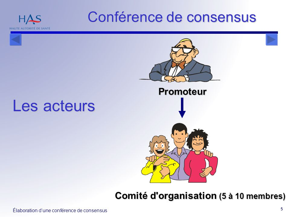 Les acteurs Conférence de consensus Promoteur