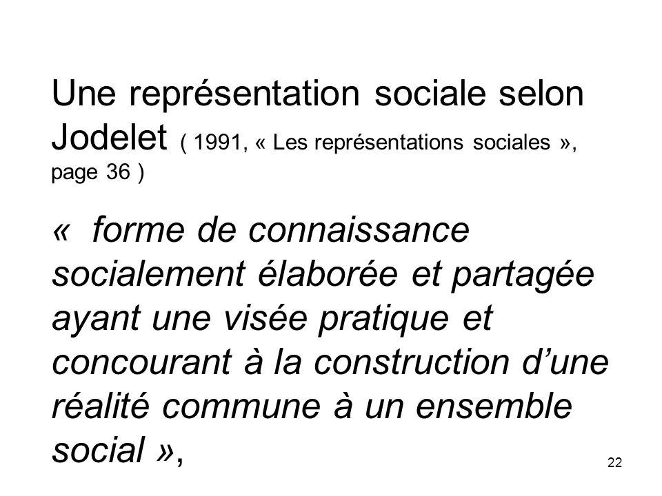 Une représentation sociale selon Jodelet ( 1991, « Les représentations sociales », page 36 )