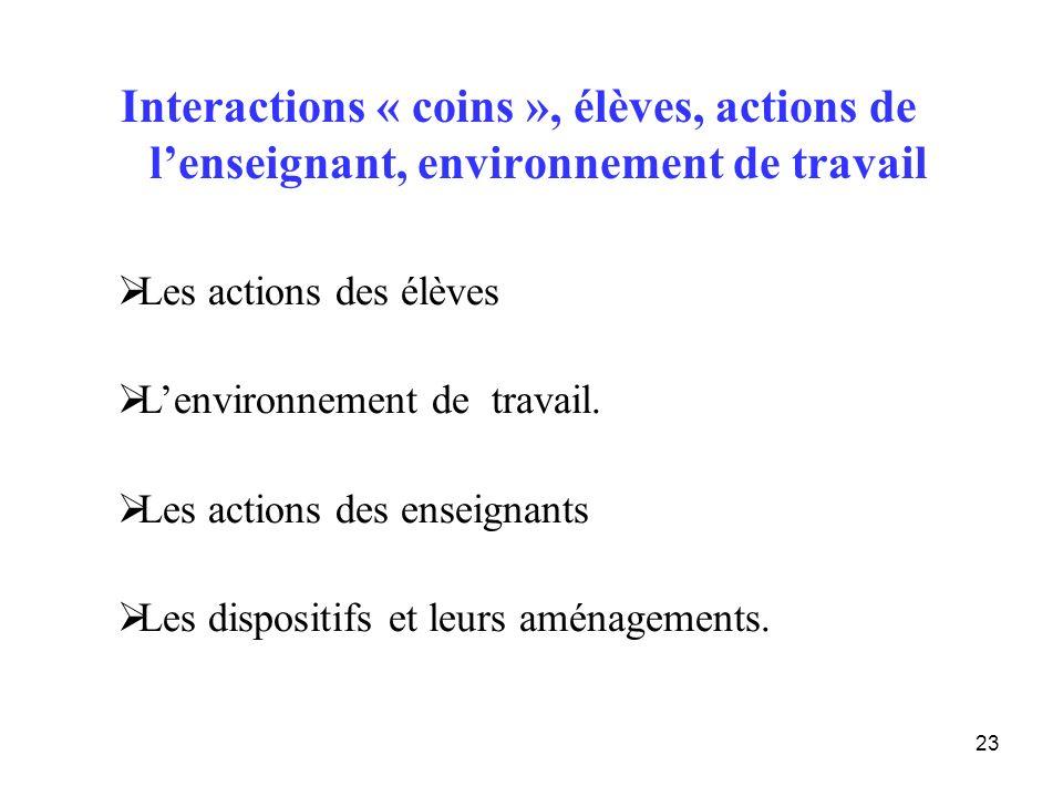 Interactions « coins », élèves, actions de l'enseignant, environnement de travail