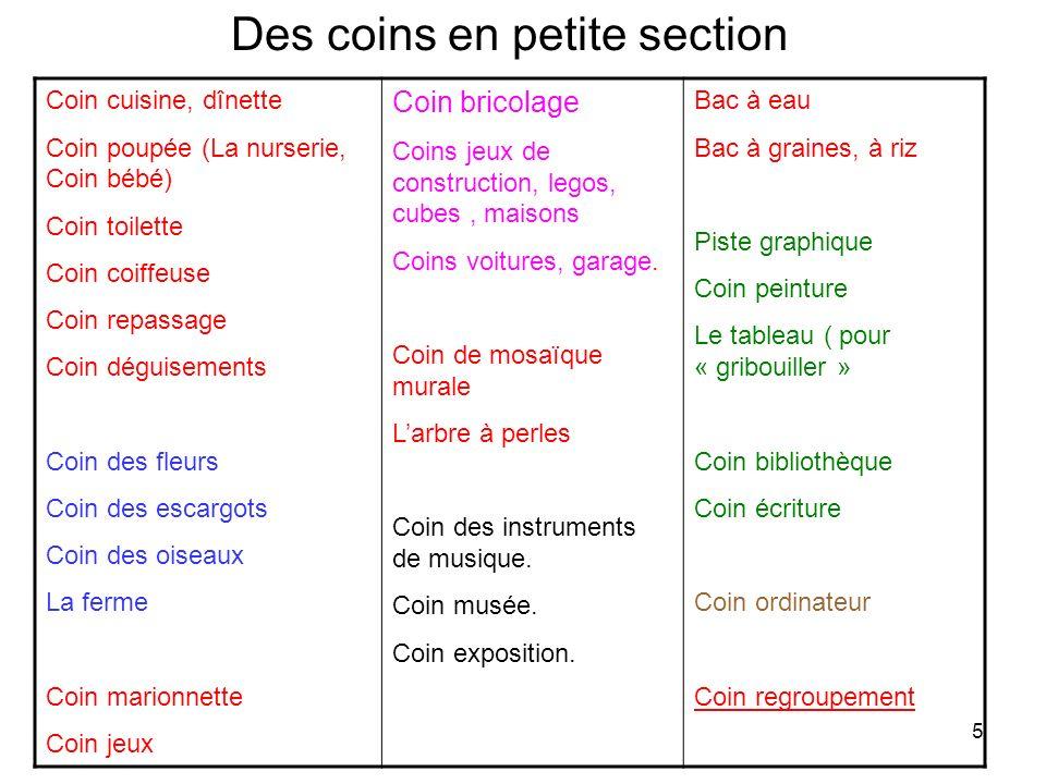 Des coins en petite section