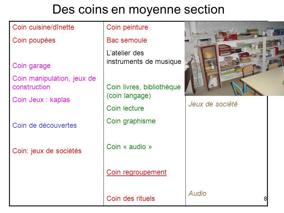 Des coins en moyenne section