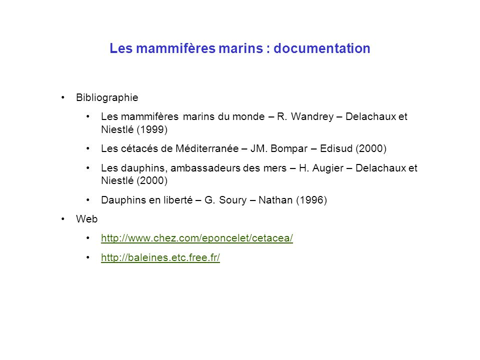 Les mammifères marins : documentation