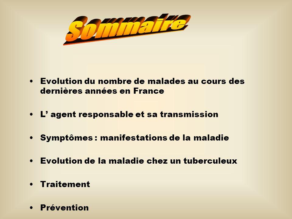 Sommaire Evolution du nombre de malades au cours des dernières années en France. L' agent responsable et sa transmission.
