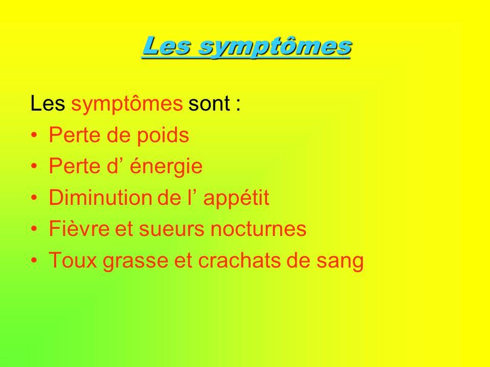 Les symptômes Les symptômes sont : Perte de poids Perte d' énergie