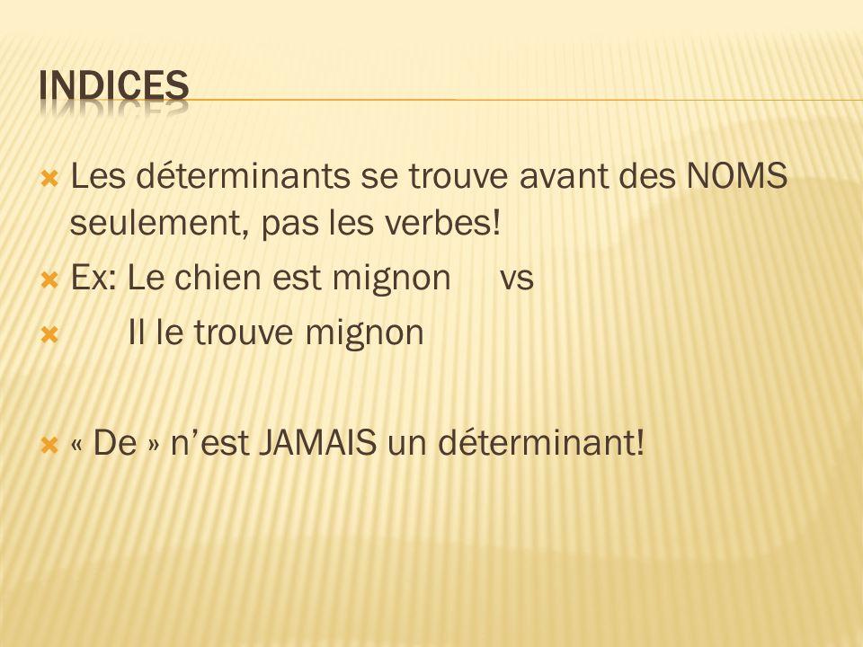 Indices Les déterminants se trouve avant des NOMS seulement, pas les verbes! Ex: Le chien est mignon vs.