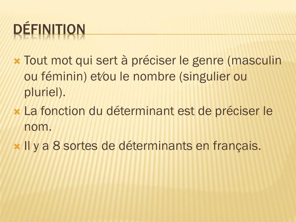 Définition Tout mot qui sert à préciser le genre (masculin ou féminin) et⁄ou le nombre (singulier ou pluriel).
