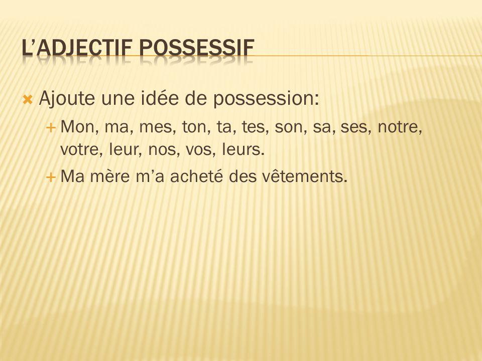 L'adjectif possessif Ajoute une idée de possession: