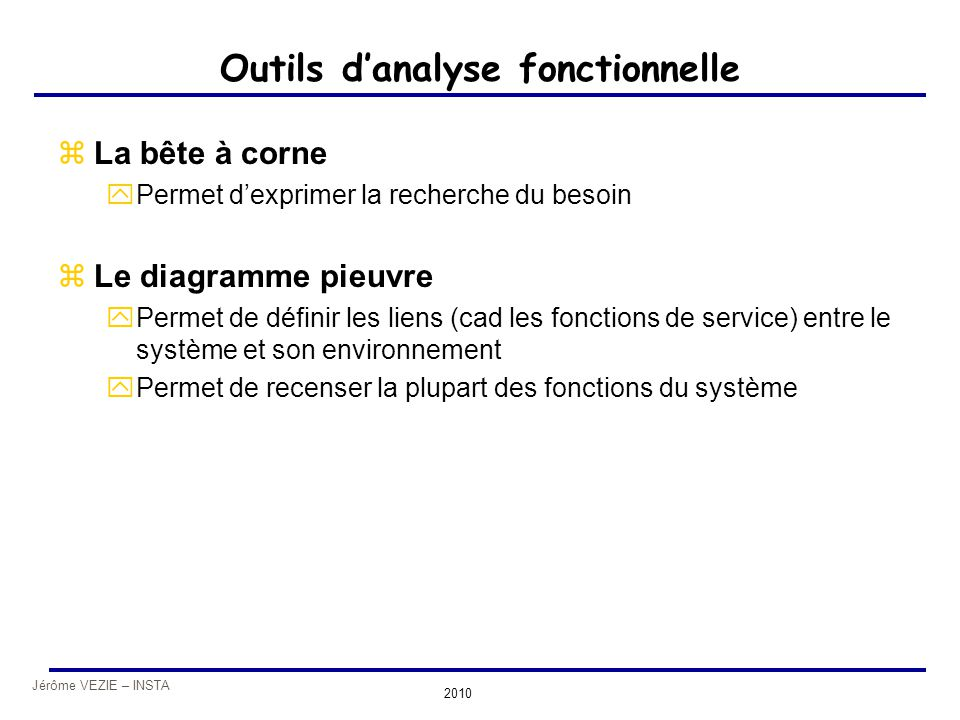 Outils d'analyse fonctionnelle