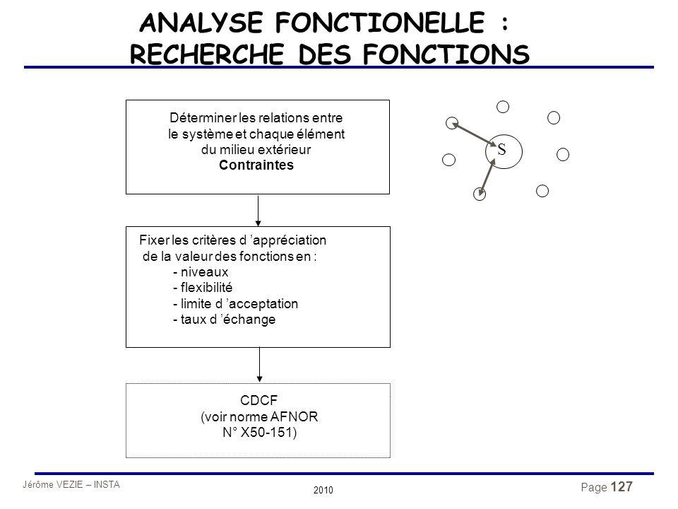 ANALYSE FONCTIONELLE : RECHERCHE DES FONCTIONS