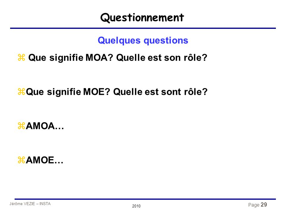 Questionnement Quelques questions