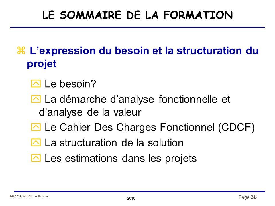 LE SOMMAIRE DE LA FORMATION