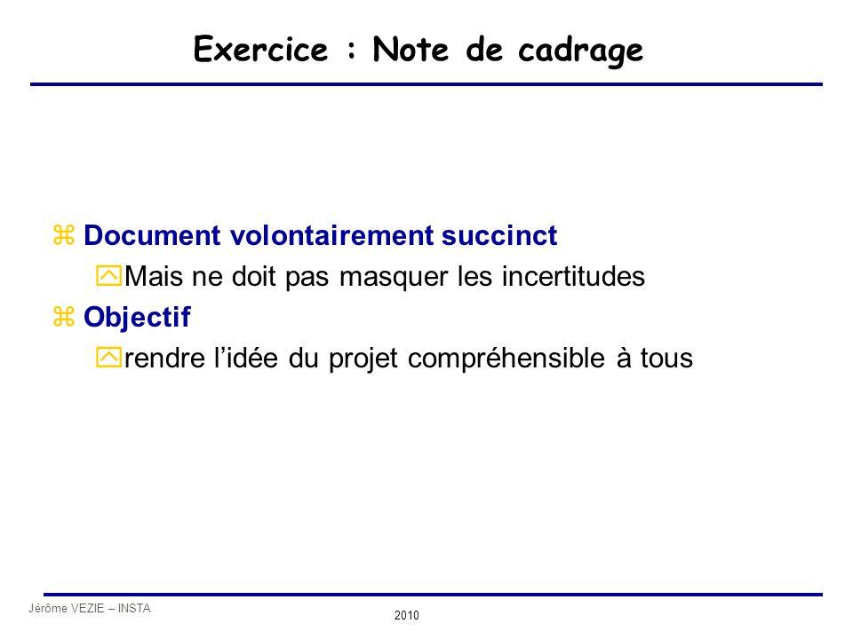 Exercice : Note de cadrage