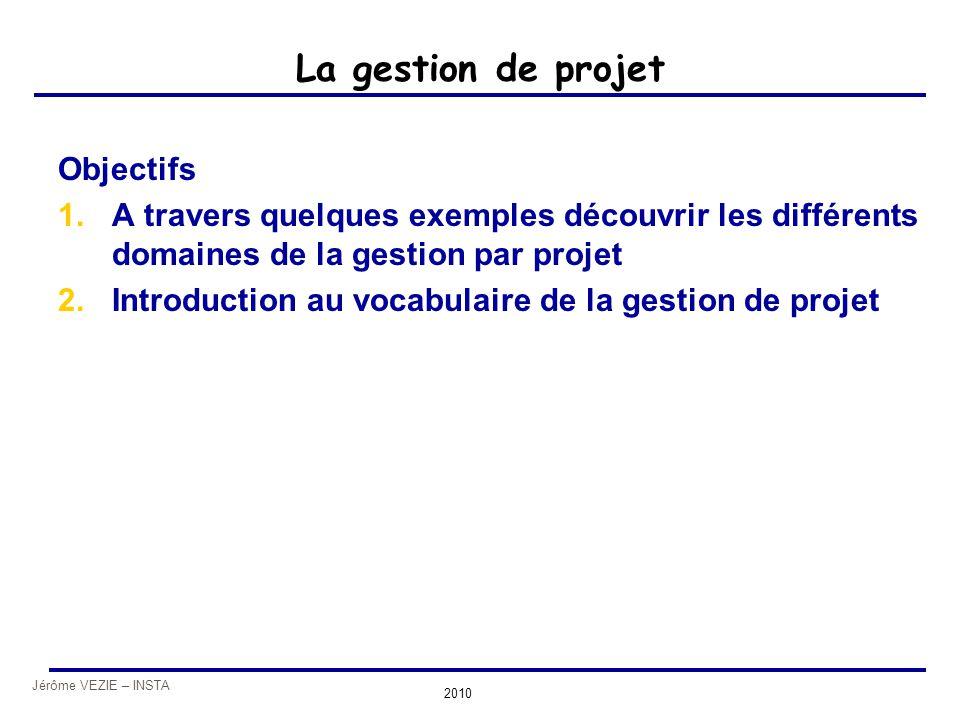 La gestion de projet Objectifs