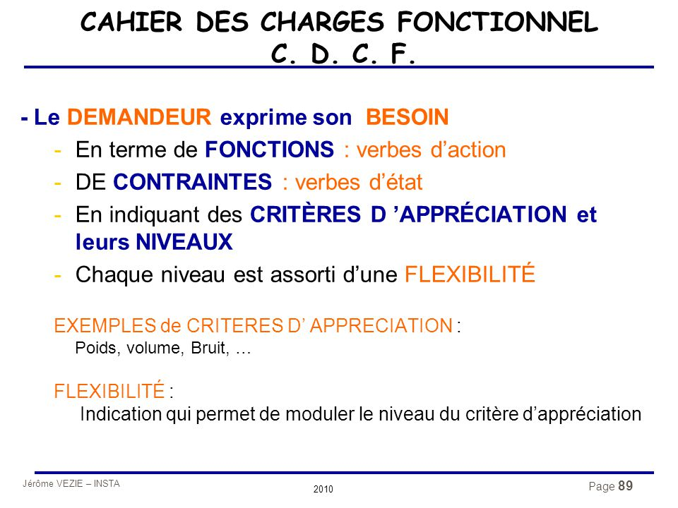 CAHIER DES CHARGES FONCTIONNEL C. D. C. F.