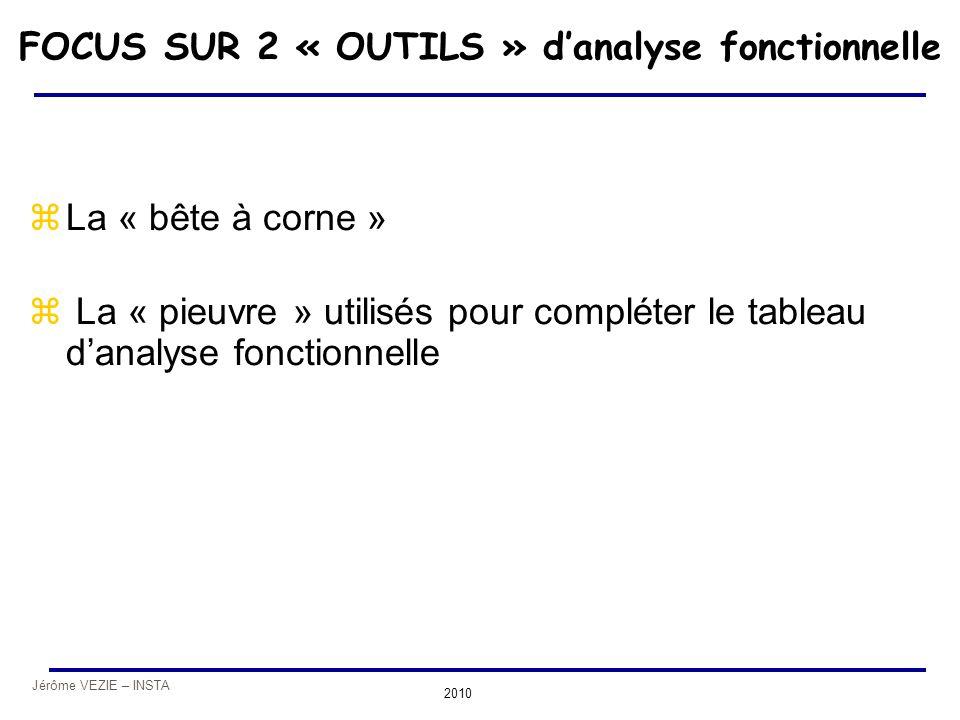 FOCUS SUR 2 « OUTILS » d'analyse fonctionnelle