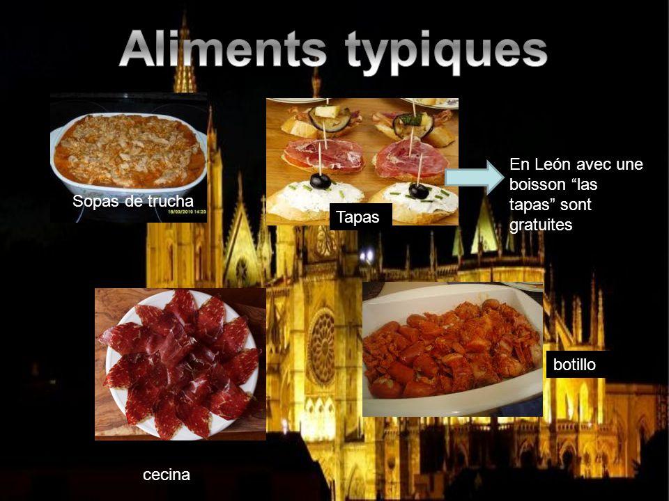 Aliments typiques En León avec une boisson las tapas sont gratuites