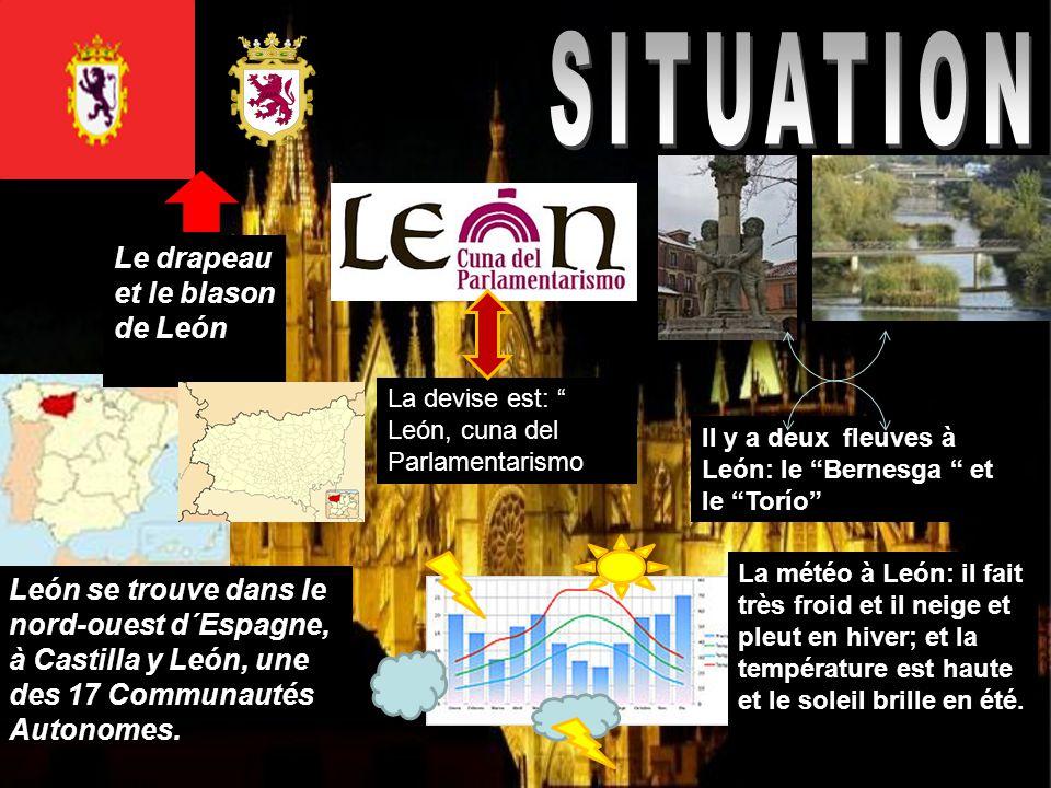SITUATION Le drapeau et le blason de León