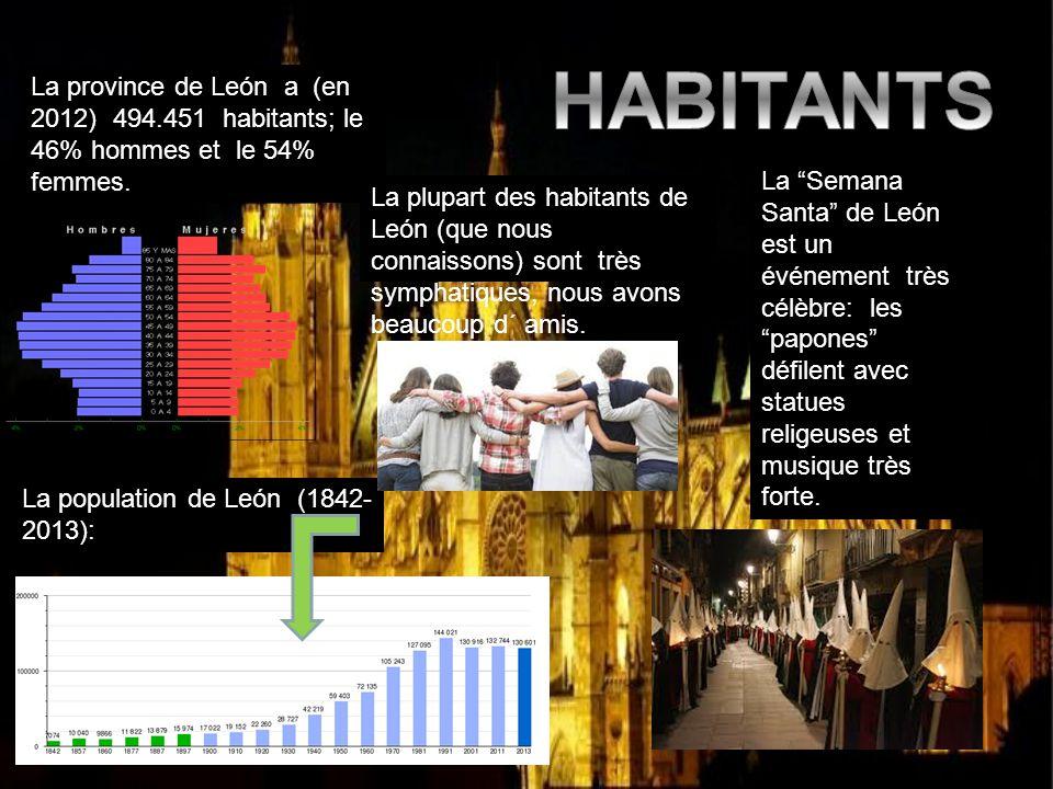 HABITANTS La province de León a (en 2012) 494.451 habitants; le 46% hommes et le 54% femmes.