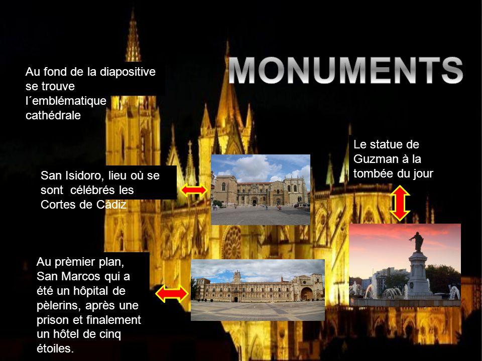 MONUMENTS Au fond de la diapositive se trouve l´emblématique cathédrale. Le statue de Guzman à la tombée du jour.