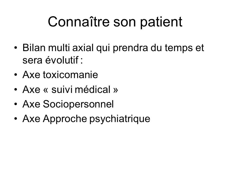 Connaître son patient Bilan multi axial qui prendra du temps et sera évolutif : Axe toxicomanie. Axe « suivi médical »