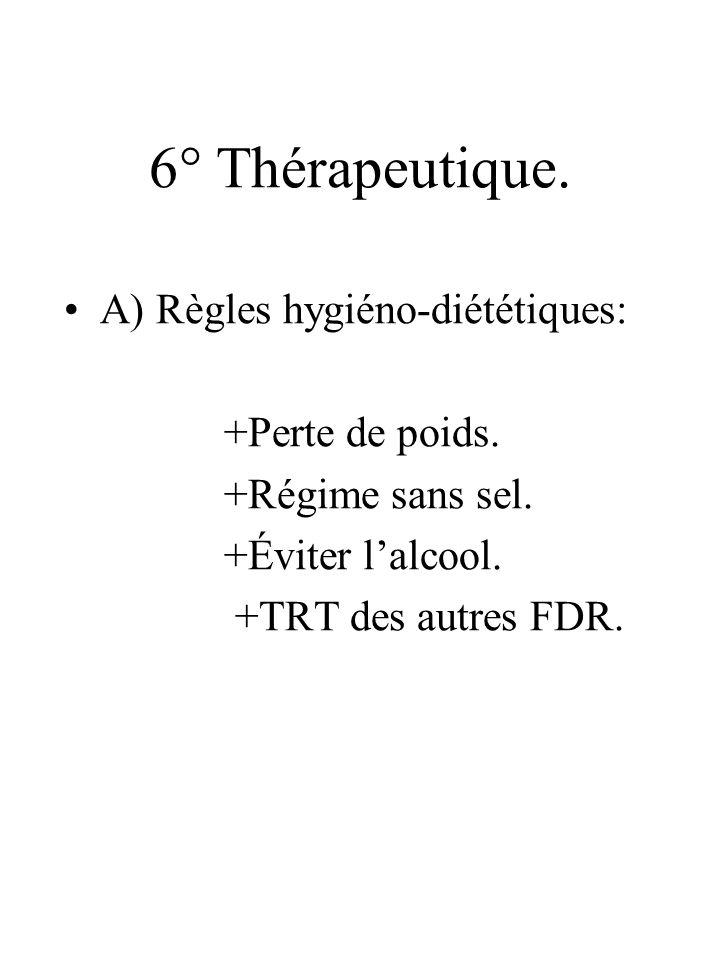 6° Thérapeutique. A) Règles hygiéno-diététiques: +Perte de poids.