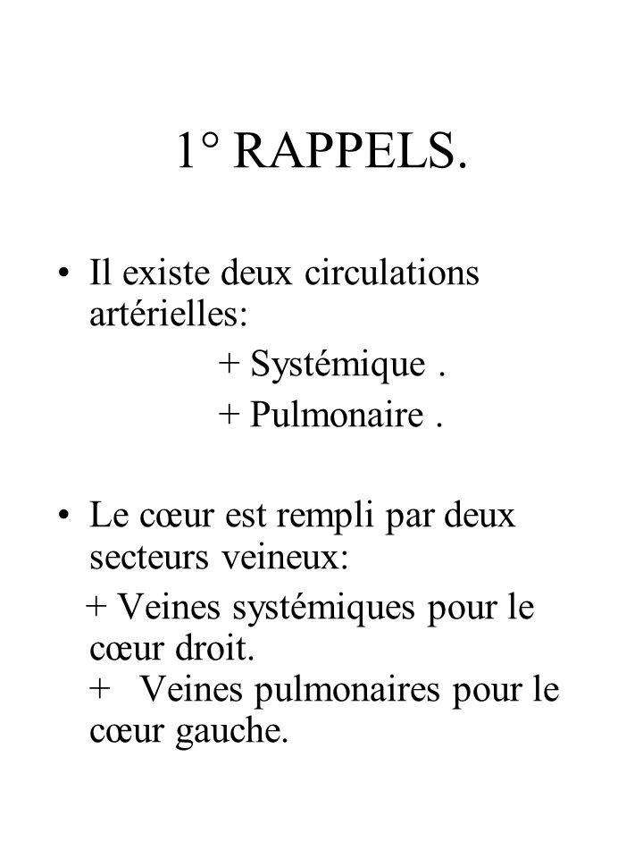 1° RAPPELS. Il existe deux circulations artérielles: + Systémique .