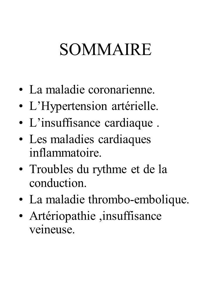 SOMMAIRE La maladie coronarienne. L'Hypertension artérielle.