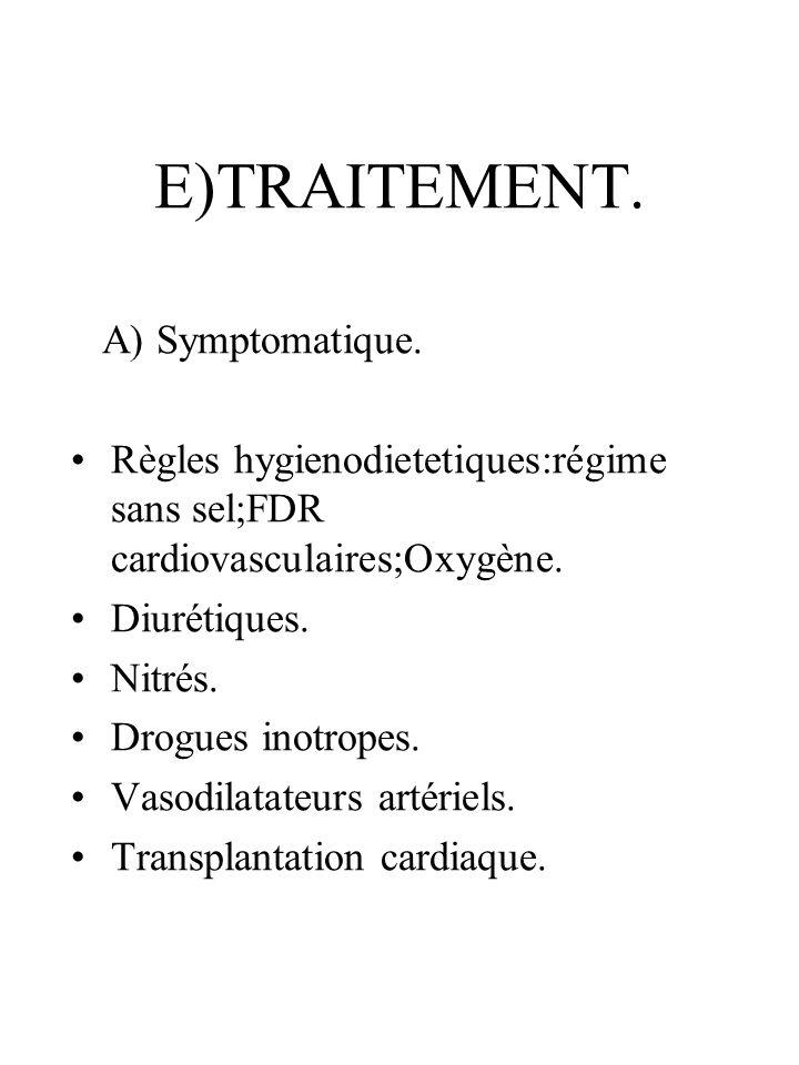 E)TRAITEMENT. A) Symptomatique.