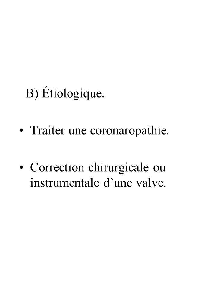 B) Étiologique. Traiter une coronaropathie. Correction chirurgicale ou instrumentale d'une valve.