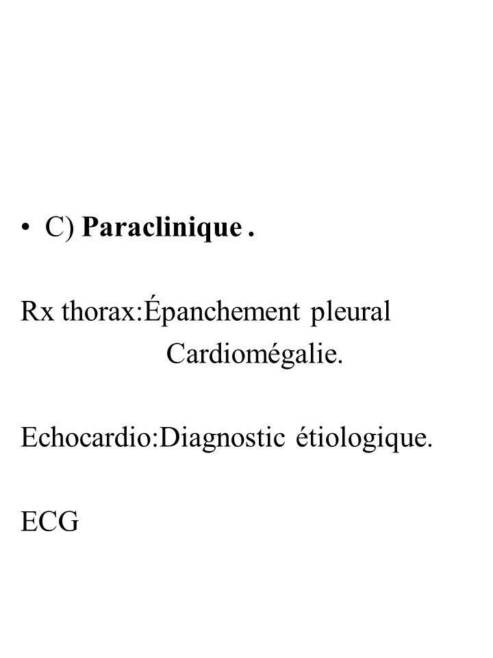 C) Paraclinique . Rx thorax:Épanchement pleural. Cardiomégalie. Echocardio:Diagnostic étiologique.