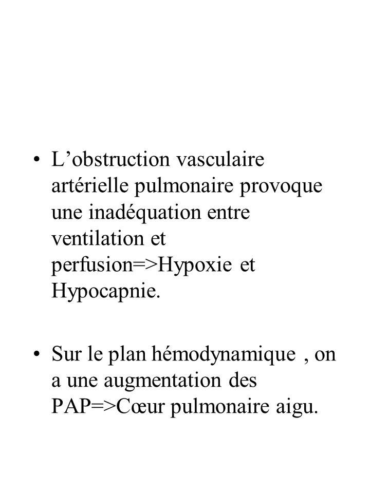 L'obstruction vasculaire artérielle pulmonaire provoque une inadéquation entre ventilation et perfusion=>Hypoxie et Hypocapnie.