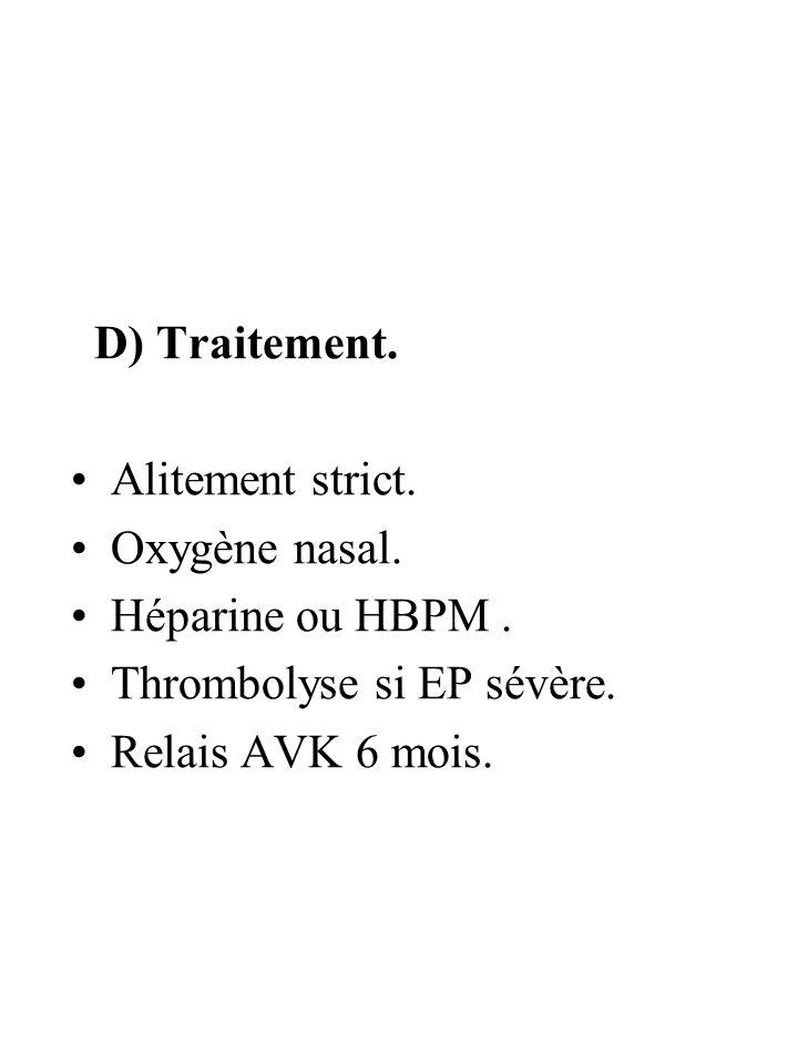 D) Traitement. Alitement strict. Oxygène nasal.