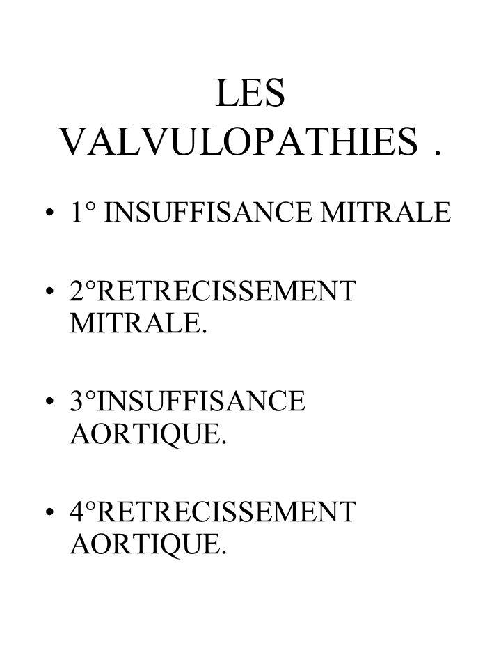 LES VALVULOPATHIES . 1° INSUFFISANCE MITRALE 2°RETRECISSEMENT MITRALE.
