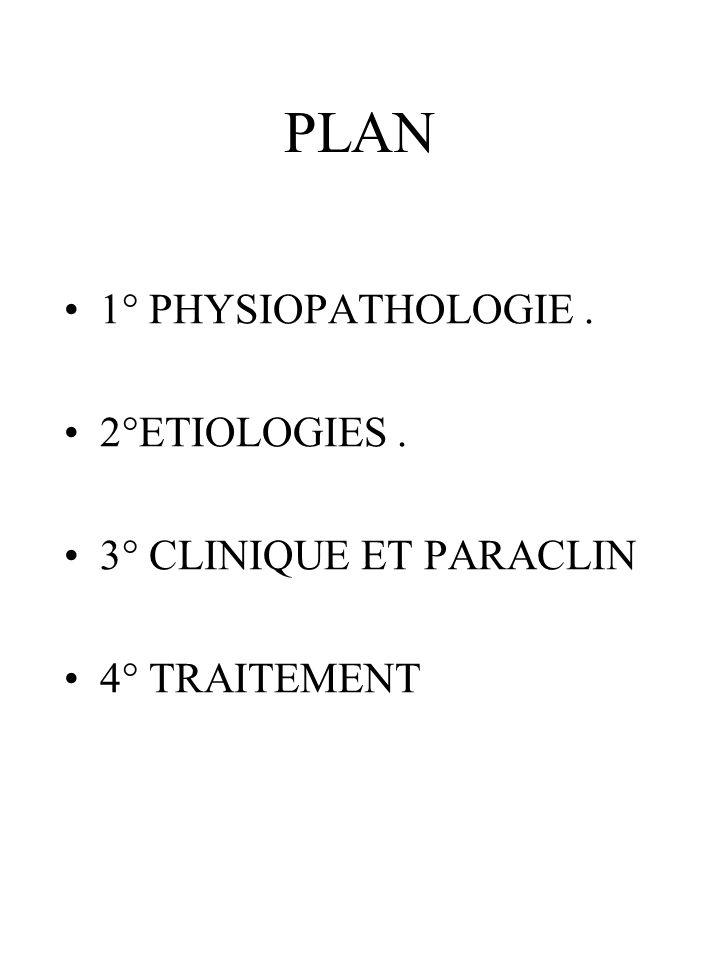 PLAN 1° PHYSIOPATHOLOGIE . 2°ETIOLOGIES . 3° CLINIQUE ET PARACLIN