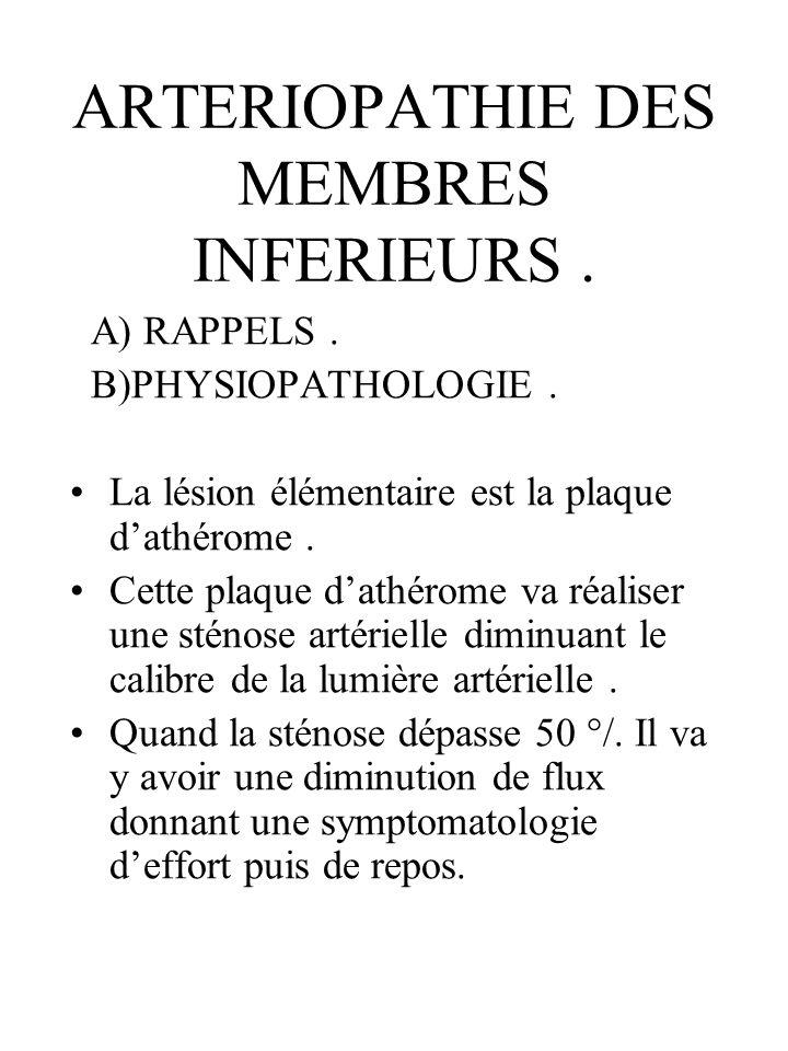 ARTERIOPATHIE DES MEMBRES INFERIEURS .
