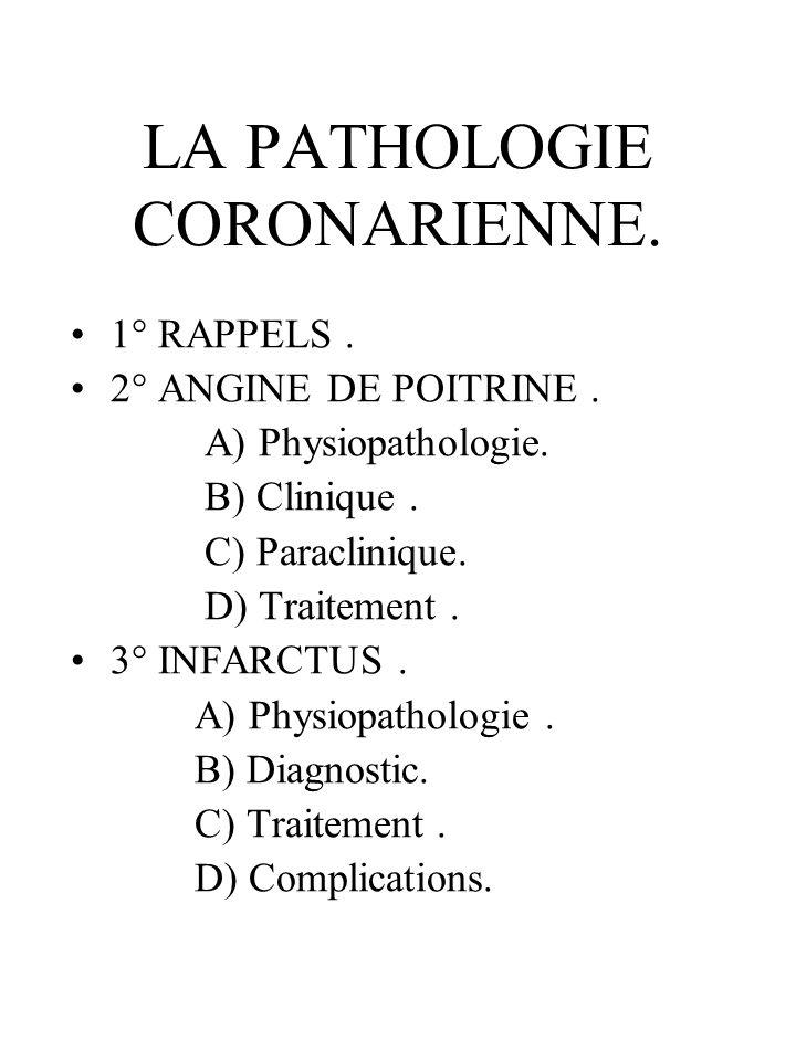 LA PATHOLOGIE CORONARIENNE.