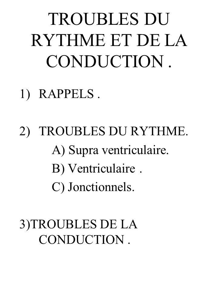 TROUBLES DU RYTHME ET DE LA CONDUCTION .