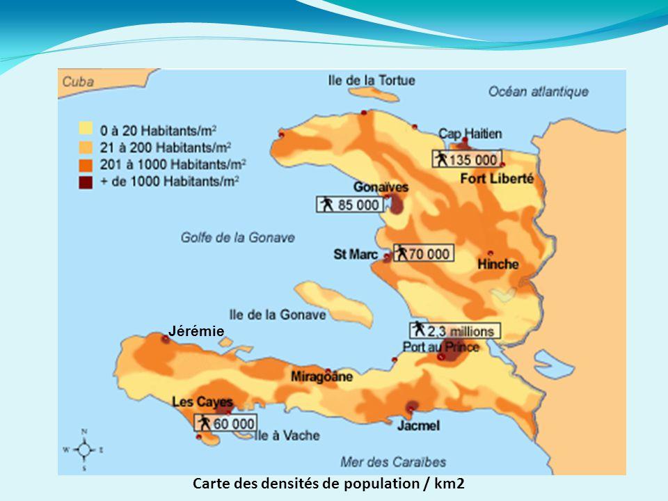 Carte des densités de population / km2