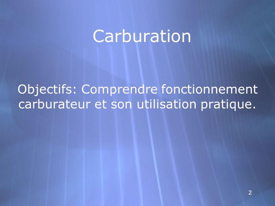 Carburation Objectifs: Comprendre fonctionnement carburateur et son utilisation pratique.