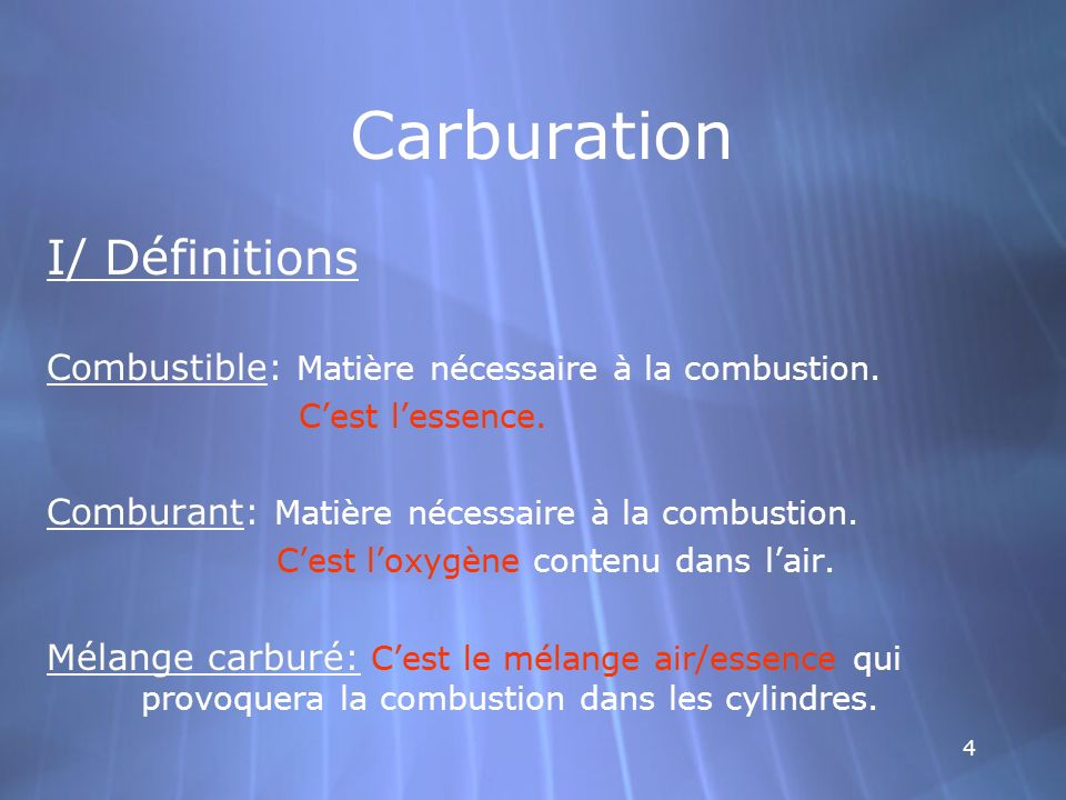 Carburation I/ Définitions