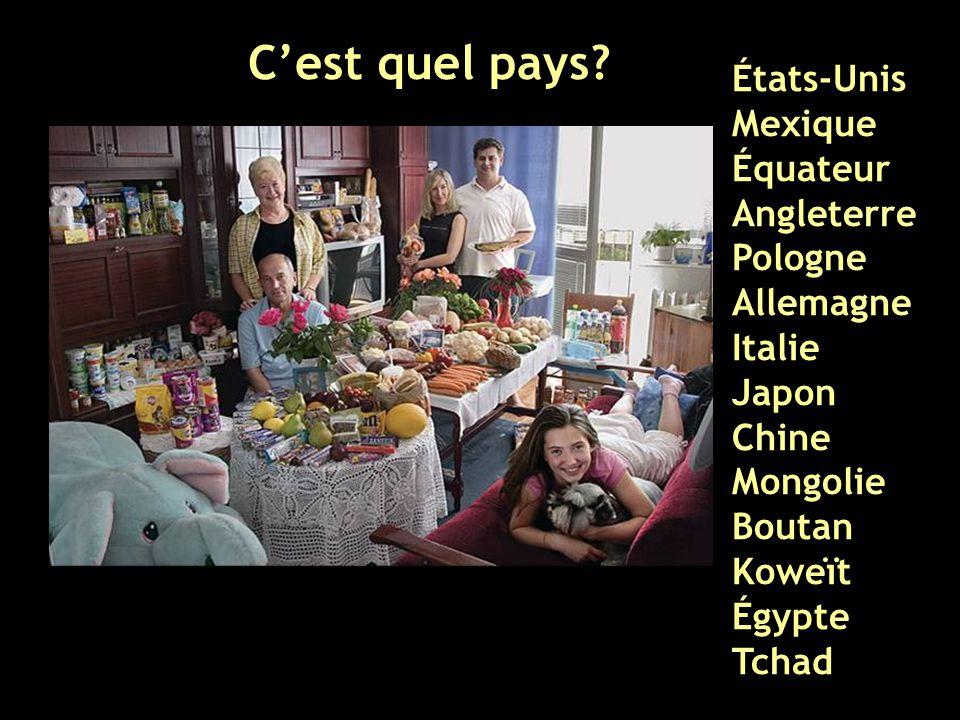 C'est quel pays États-Unis Mexique Équateur Angleterre Pologne Allemagne Italie Japon Chine Mongolie Boutan.
