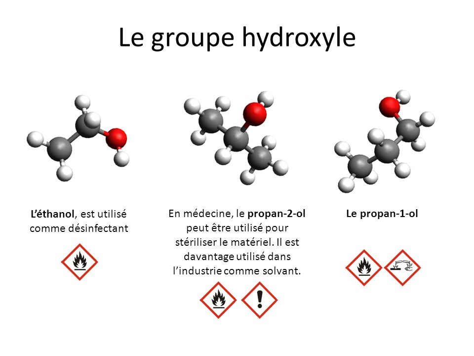 L'éthanol, est utilisé comme désinfectant