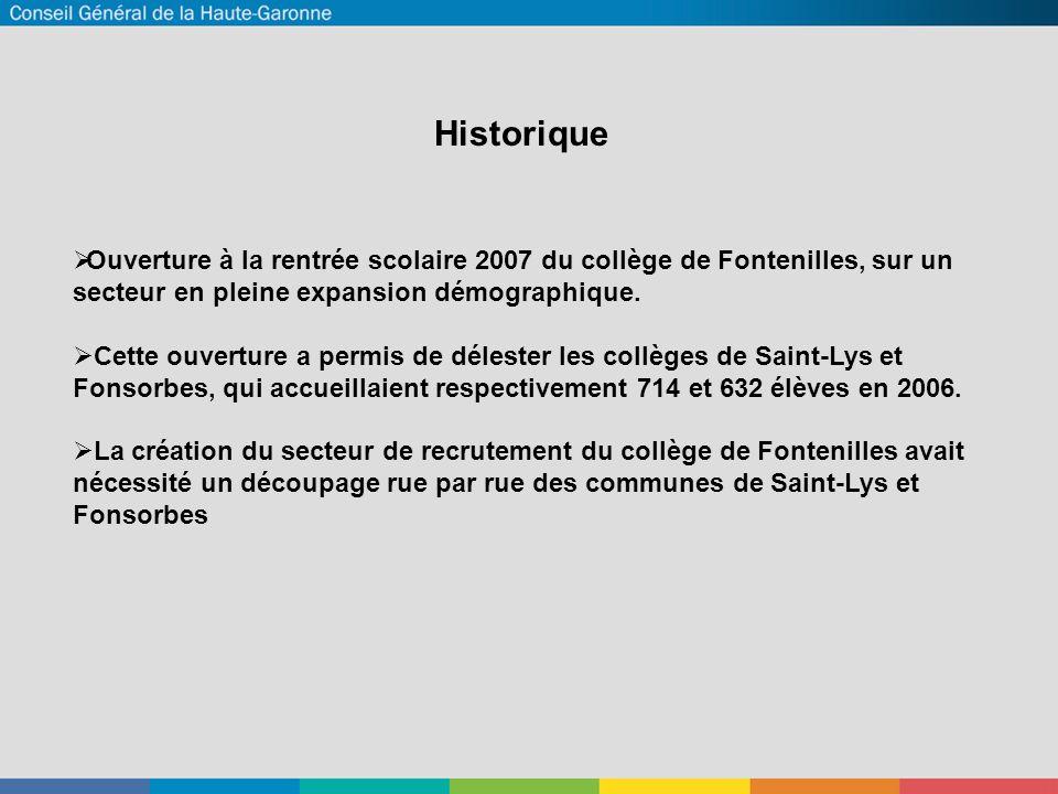 Historique Historique. Ouverture à la rentrée scolaire 2007 du collège de Fontenilles, sur un secteur en pleine expansion démographique.