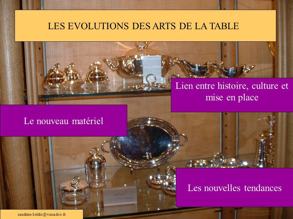 LES EVOLUTIONS DES ARTS DE LA TABLE