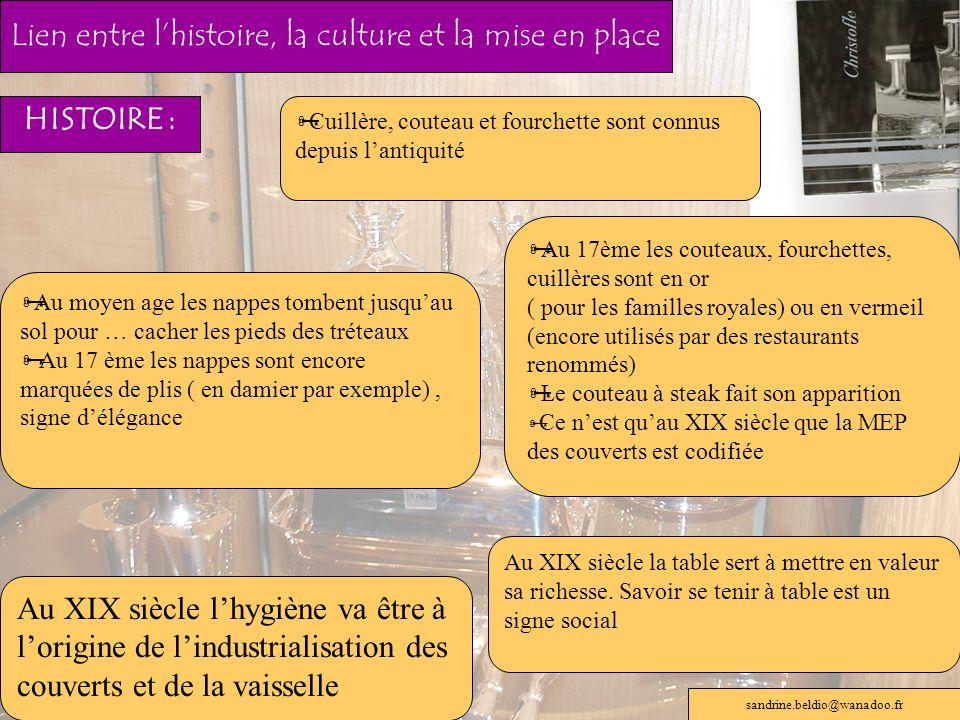 Lien entre l'histoire, la culture et la mise en place
